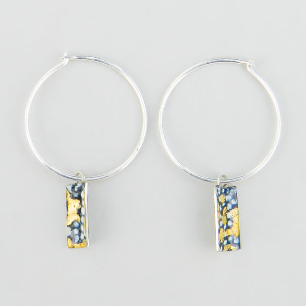 Blue and Gold Silver Hoops