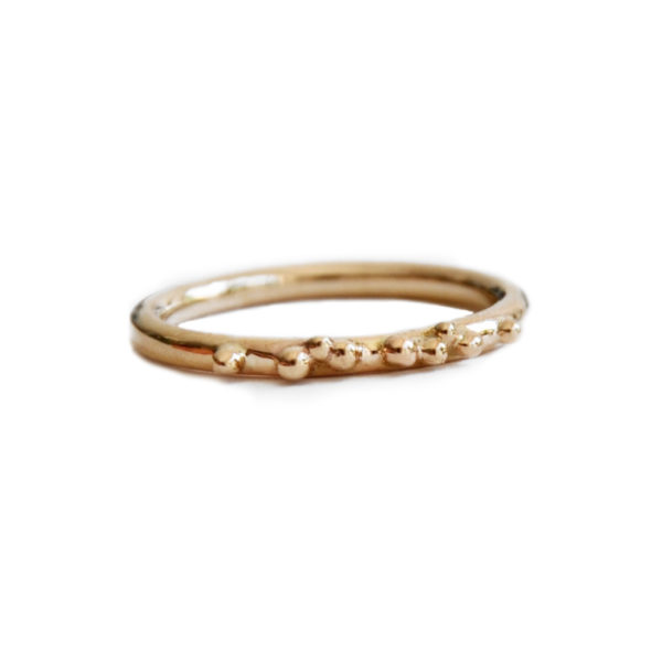ORB stacking ring 9ct gold with granulation