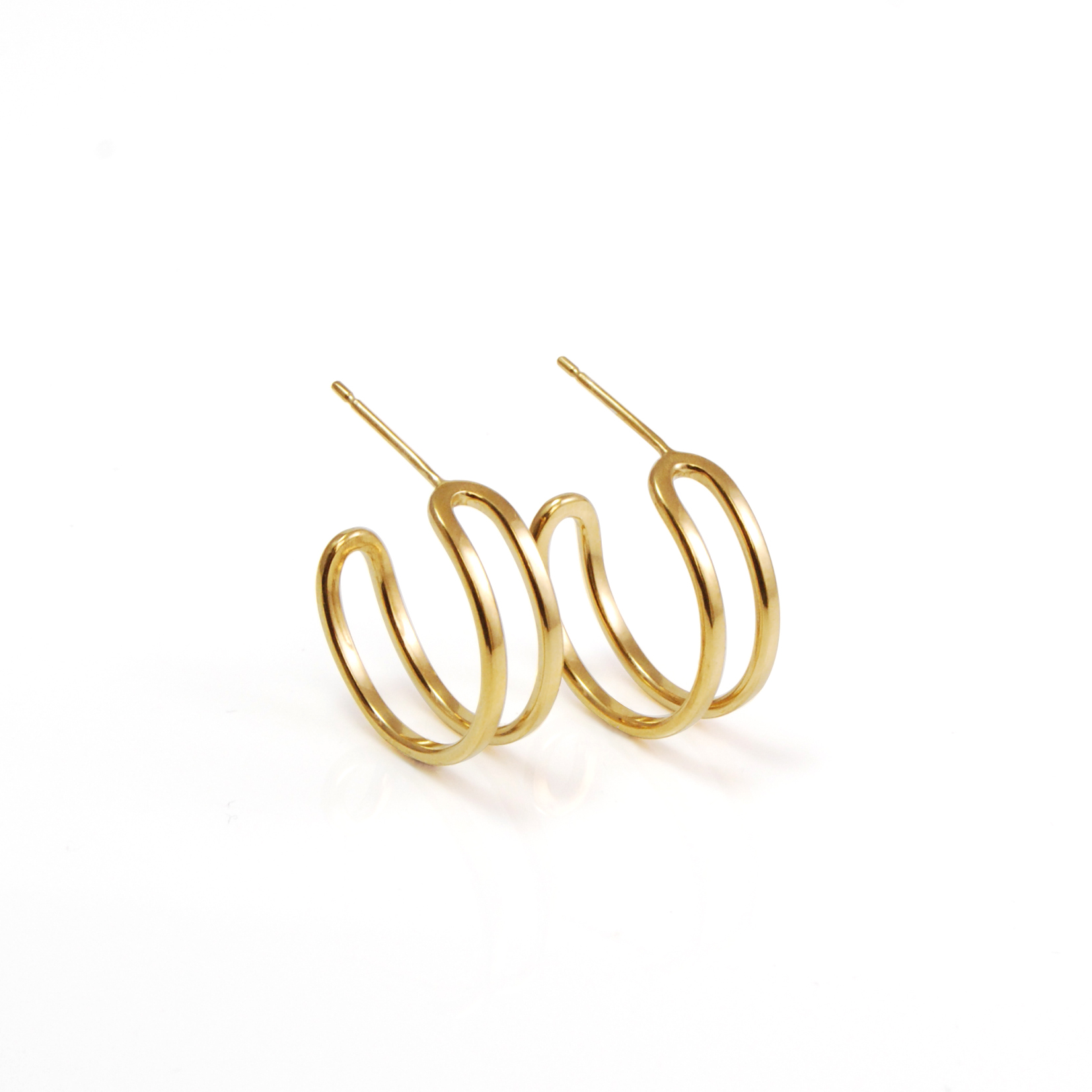 Gold plated parallel hoops