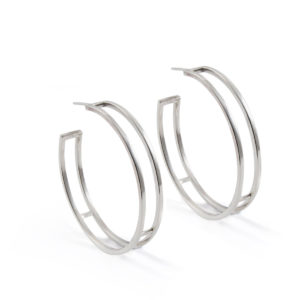 Large Silver Parallel Hoops