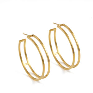 Gold Large Parallel Hoops
