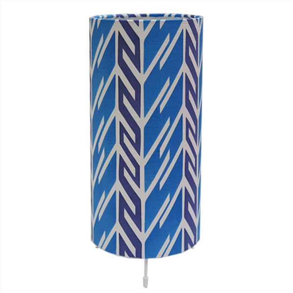 Tori McLean Butterfly Stripe Cobalt Indigo Tube Table Lamp Front