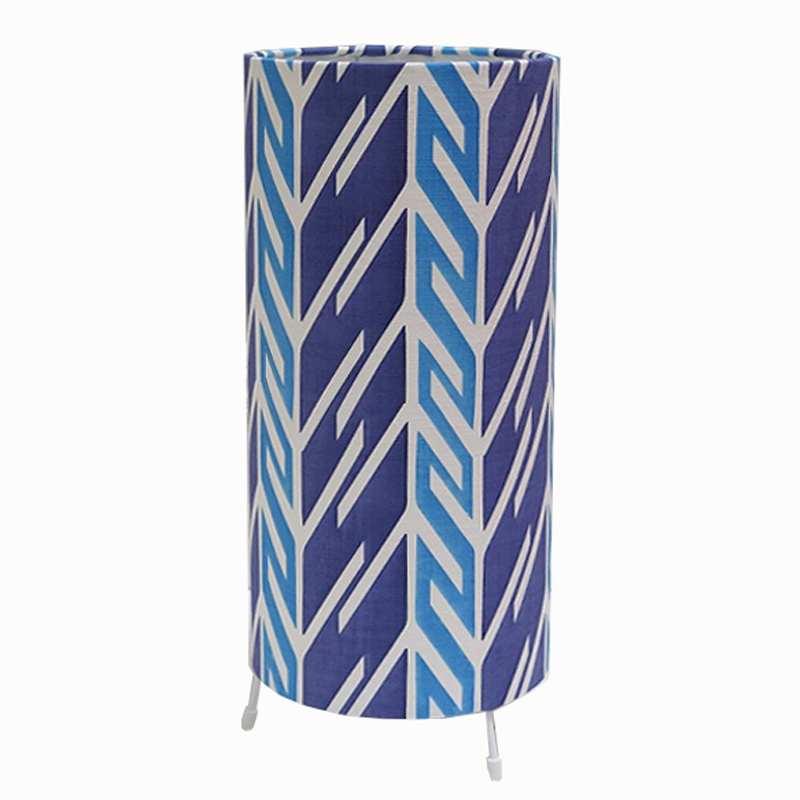 Tori McLean Butterfly Stripe Indigo Cobalt Tube Table Lamp Front