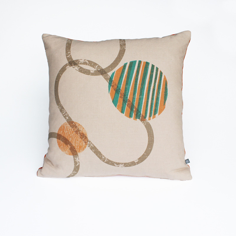 Hand printed unique 'UDot design on linen cushion