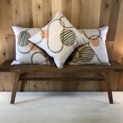 Hand screen printed linen cushion