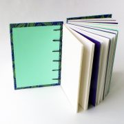 Travellers Joy, coptic bound notebook with green endpapers