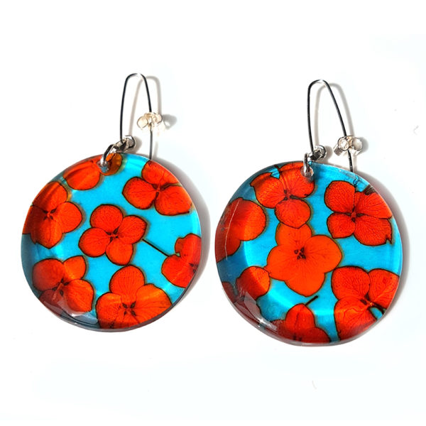 orange and turquoise tiny hydrangea large disc earrings sue gregor 800 px