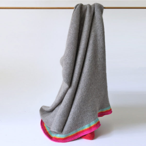 pure cashmere poncho with silk trim