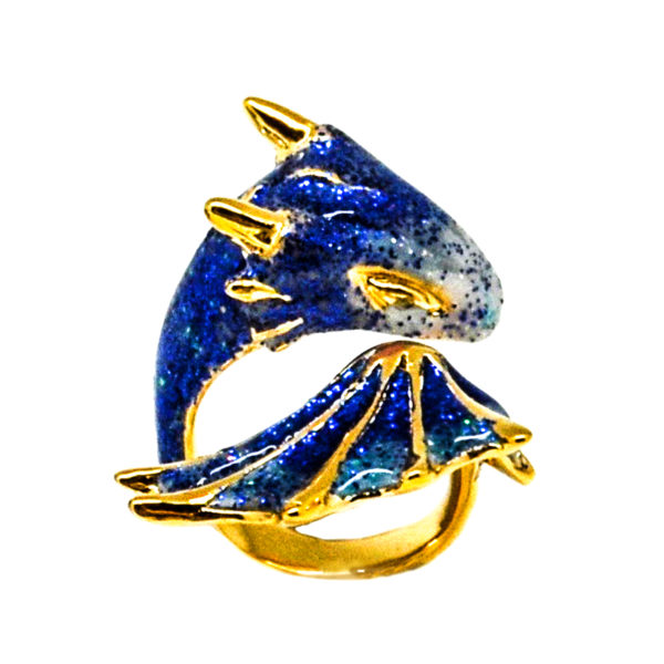 blue dragon ring, blue dragon, dragon ring, blue dragon jewellery