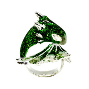 Silver Emerald Dragon Ring