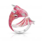 Silver Topaz Dragon Ring, pink dragon ring