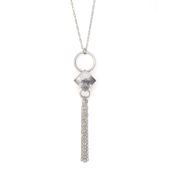 Silver Pillow Pendant with Tassel Detail