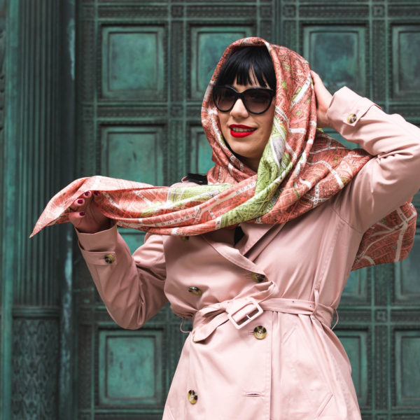 Helen Chatterton textiles Pink London City on Cloth Scarf 2