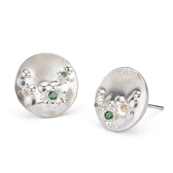 Decorio Large Studs with Spring Sapphires and Tsavorites