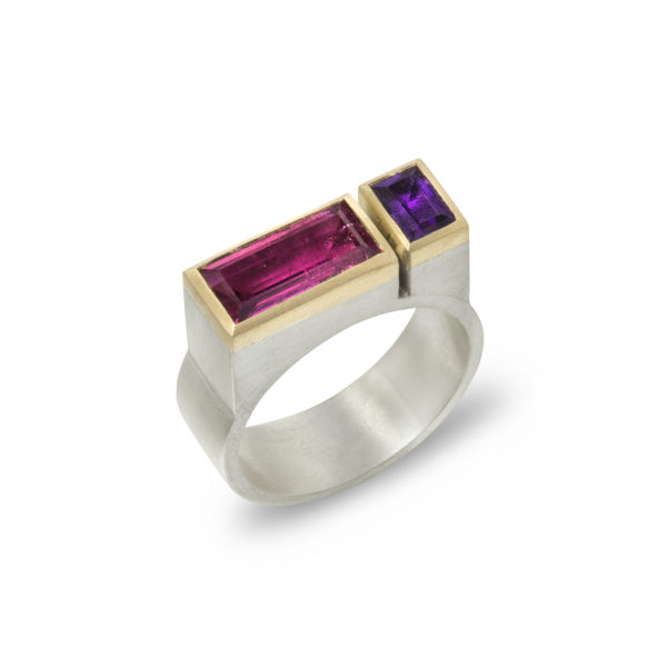 Silver and gold architect ring