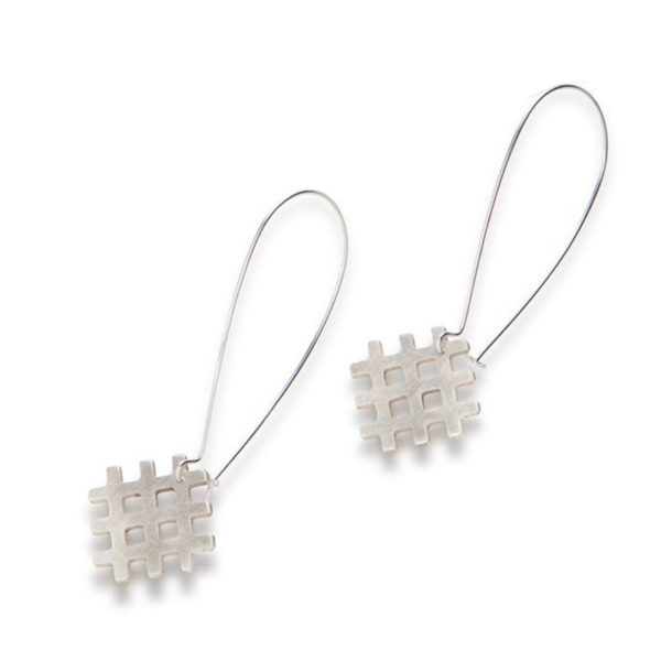 Grid Dangle Earrings - all silver