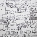 Houses handprinted paper