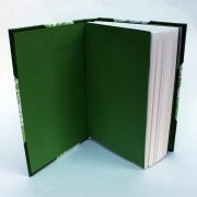travellers joy A6 sketchbook, notebook or journal with green endpapers