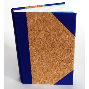 Cork sketchbook with blue corners and spine