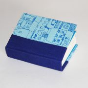 blue houses mini notebook with blue spine