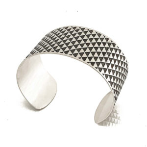 silver cuff triangle oxidised side