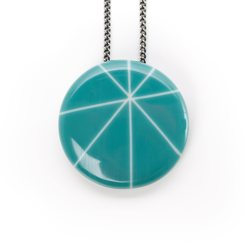 Teal resin necklace pendant