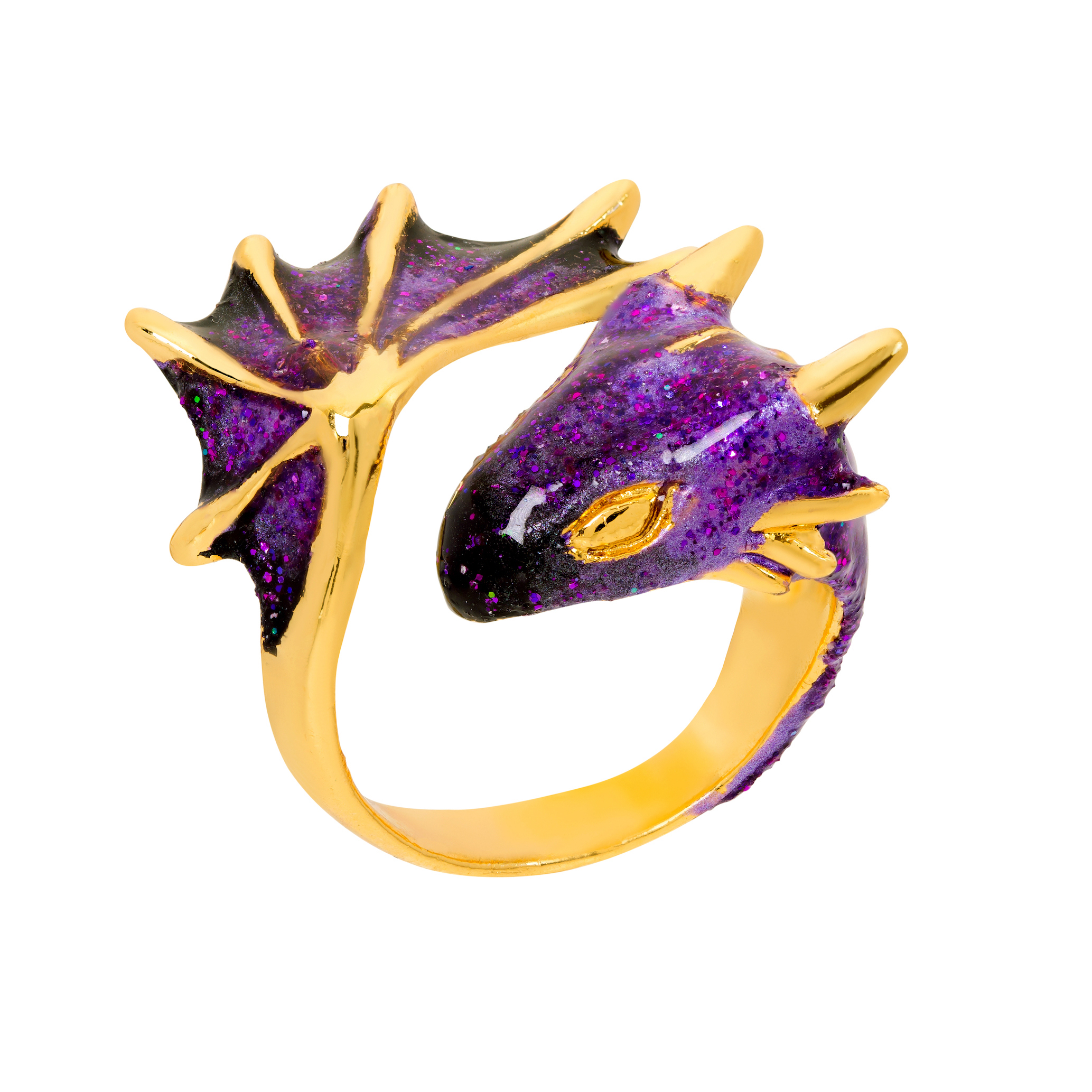 Gold Amethyst Dragon Ring