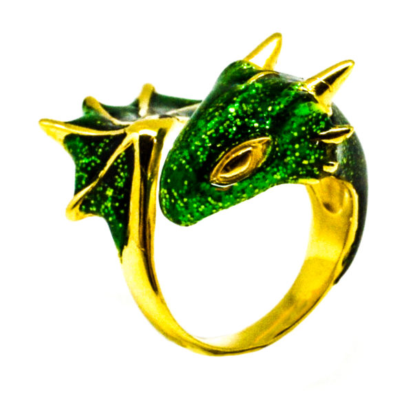 Gold Emerald Dragon Ring