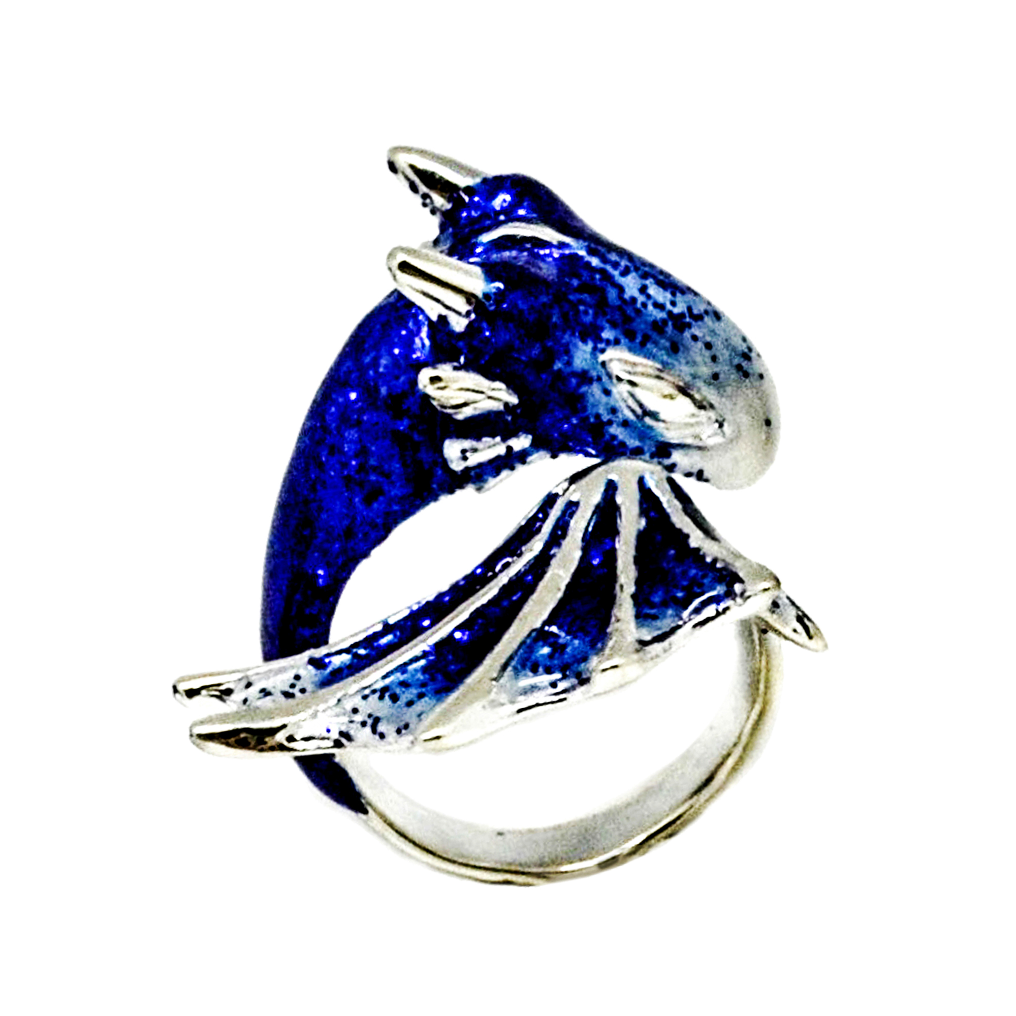 Silver Sapphire Dragon Ring_Monvatoo