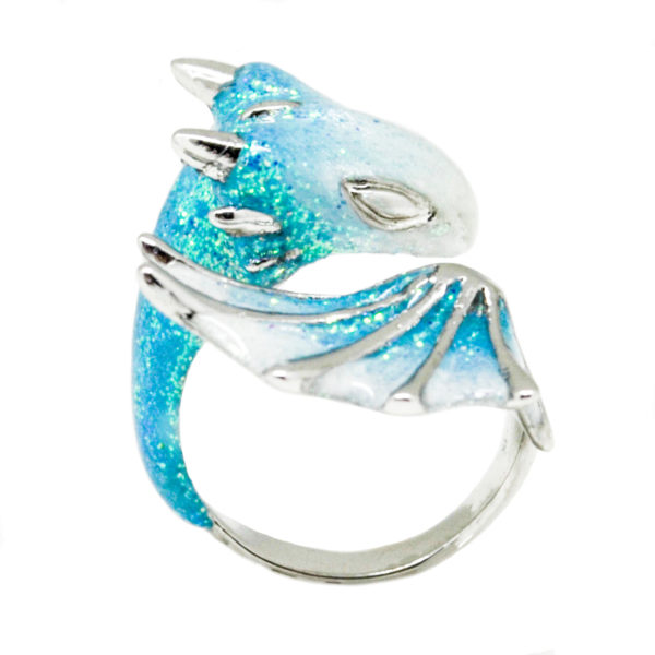 silver turquoise dragon ring