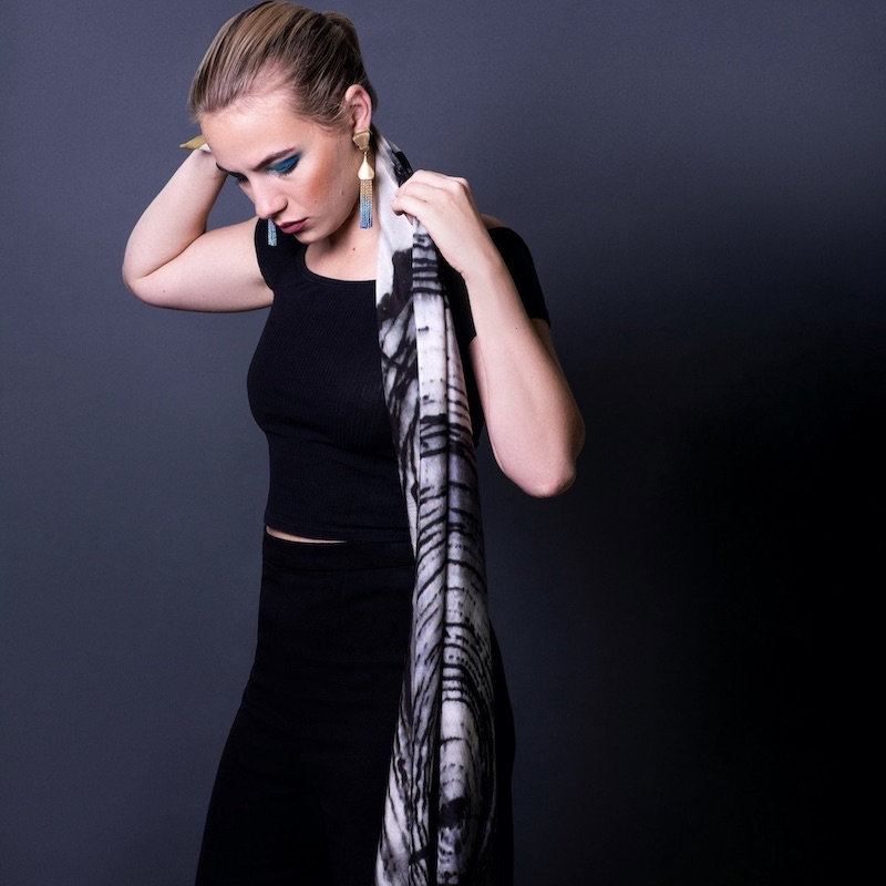 Large pure silk scarf