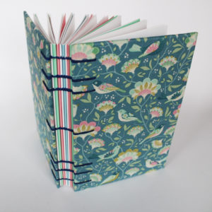 birds and flowers fabric notebook