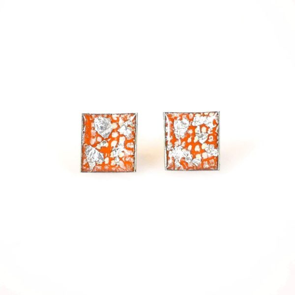 Tangerine and Silver Square Curved Studs