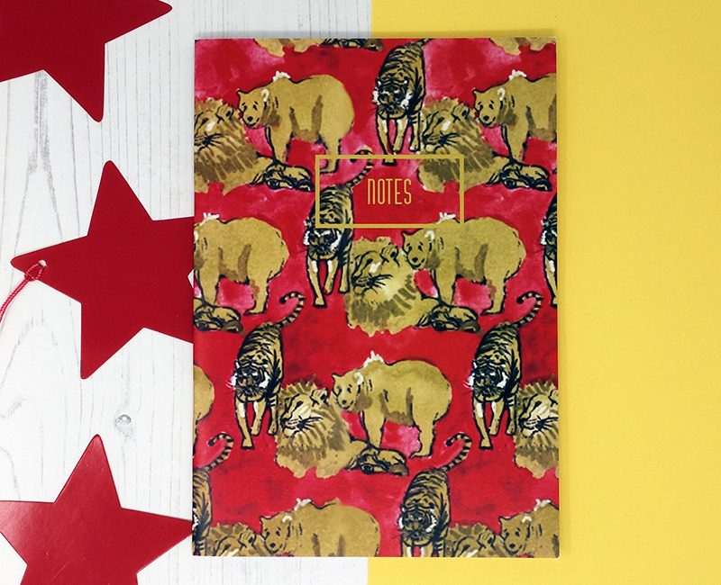 Lions and Tigers and Bears Print A5 Notebook by Also the Bison