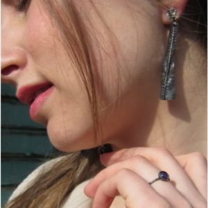 long oxidised silver earrings by Catherine Marche