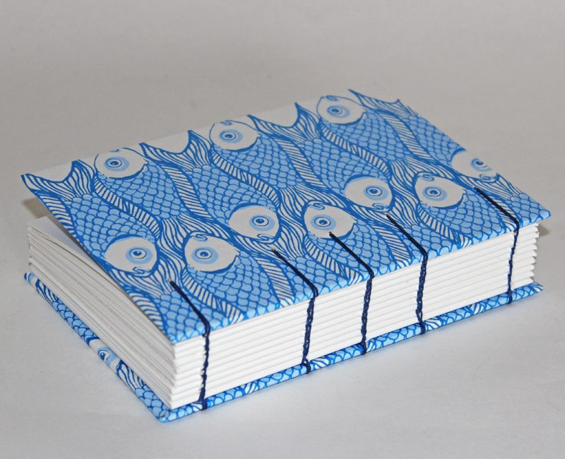 Fish design notebook with Coptic Spine by Nant Designs