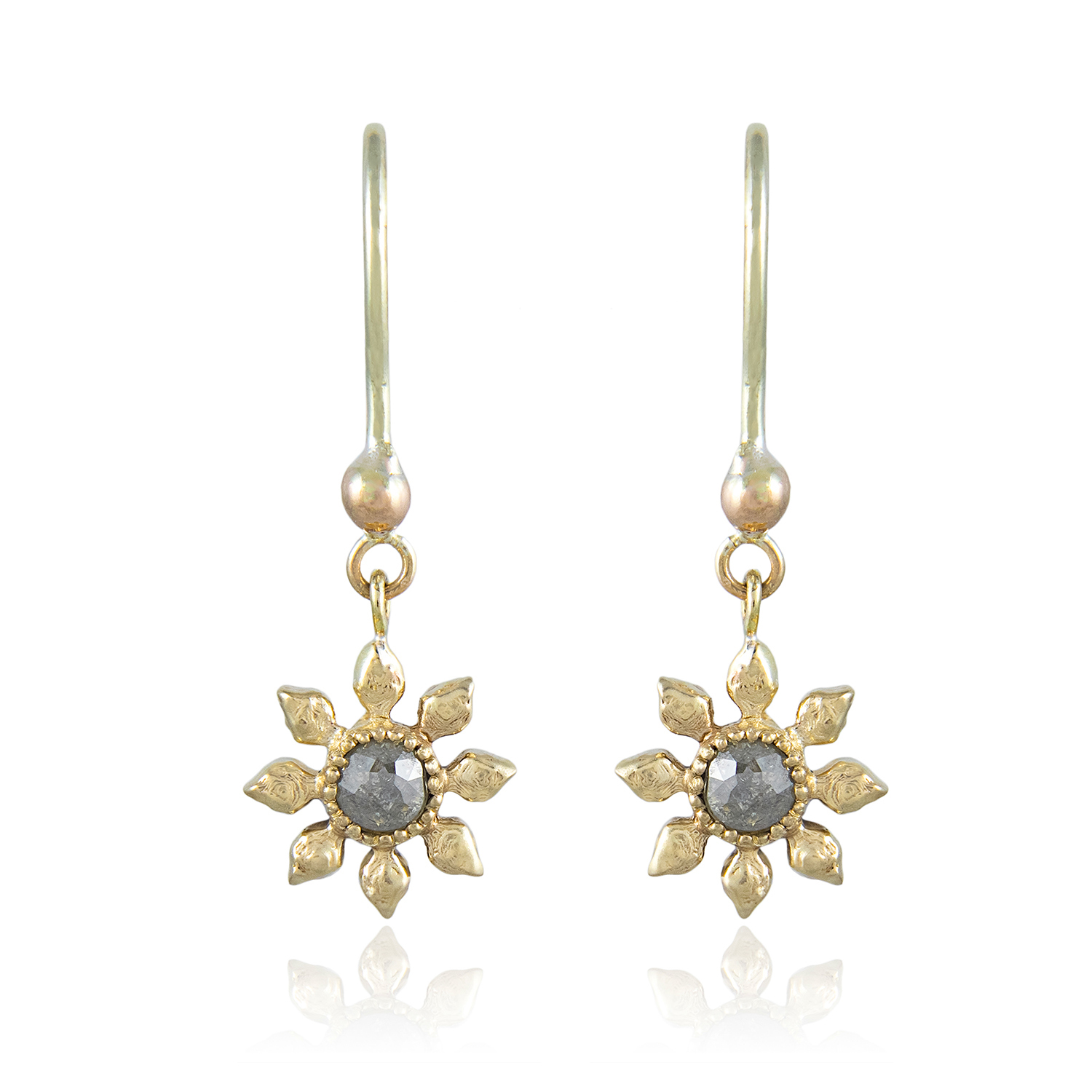 Natalie Perry Jewellery, Diamond Flower Hook Earrings