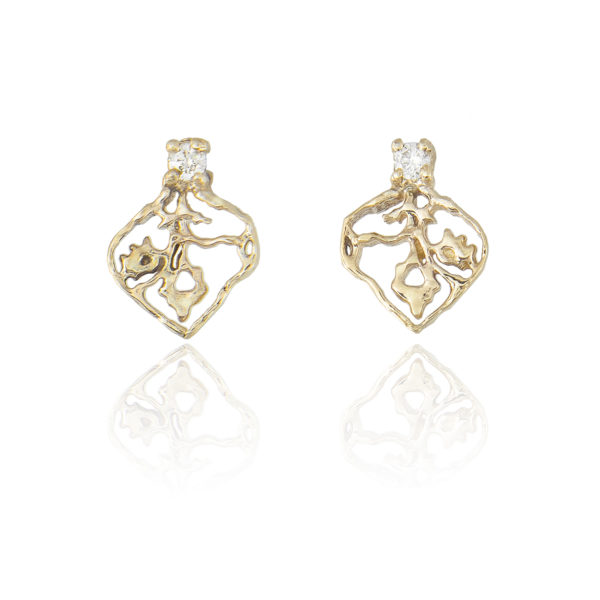 Natalie Perry, Tiny Petal Studs in 9ct recycled gold & diamonds
