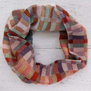 Handwoven cotton snood with blocks of colour mint, burgundy, lilac, peach, denim blue