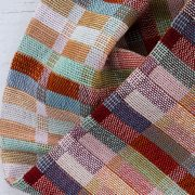 By Cecil handwoven cotton snood detail with stripes in burgundy, mint green, lilac, peach, denim blue