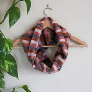 Heavyweight Cotton Snood Barbican stripes of pink, navy, brick red
