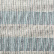Detail image of a wide striped blue and white merino wool blanket