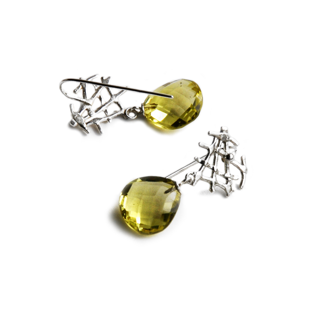 Silver filigree earrings with lemon quartz