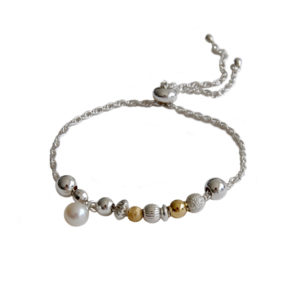 ORB adjustable bracelet with silver and gold beads and pearl