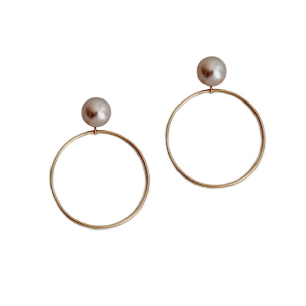 ORB solid gold hoops pearls