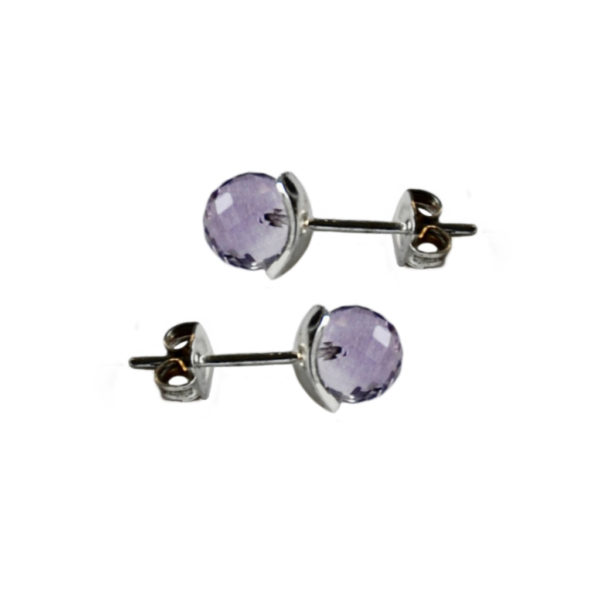 Silhouette amethyst and silver studs
