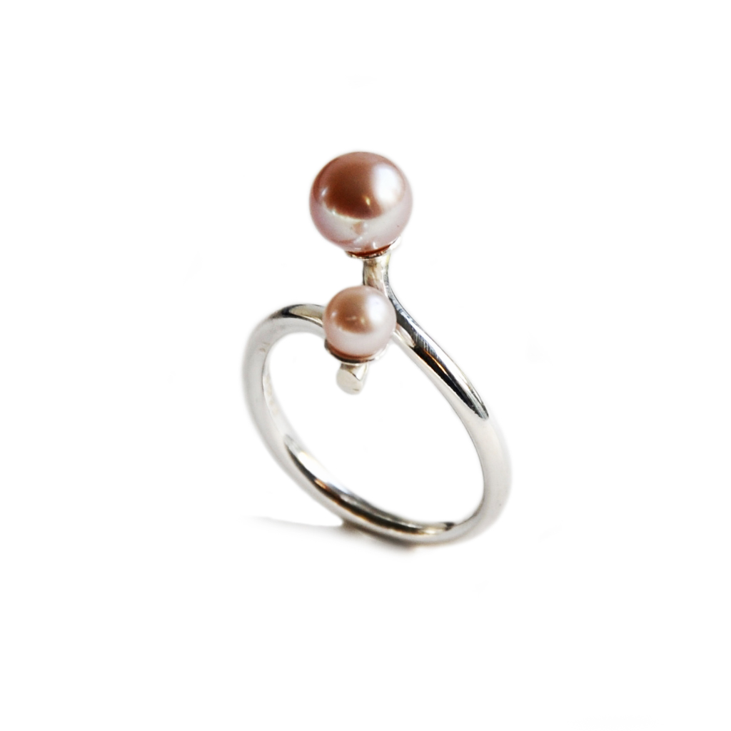 Silhouette coil silver ring 2 blush pearls