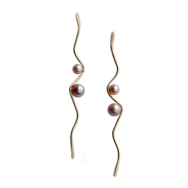 Silhouette solid gold wave earrings two pearls