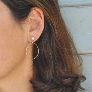 Solid gold hoops with pearls