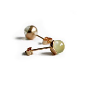 Silhouette gold and prehnite sphere studs